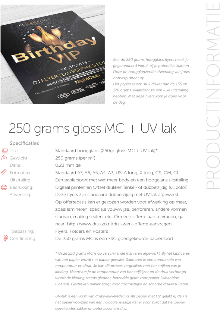 250 grams gloss MC + UV-lak
