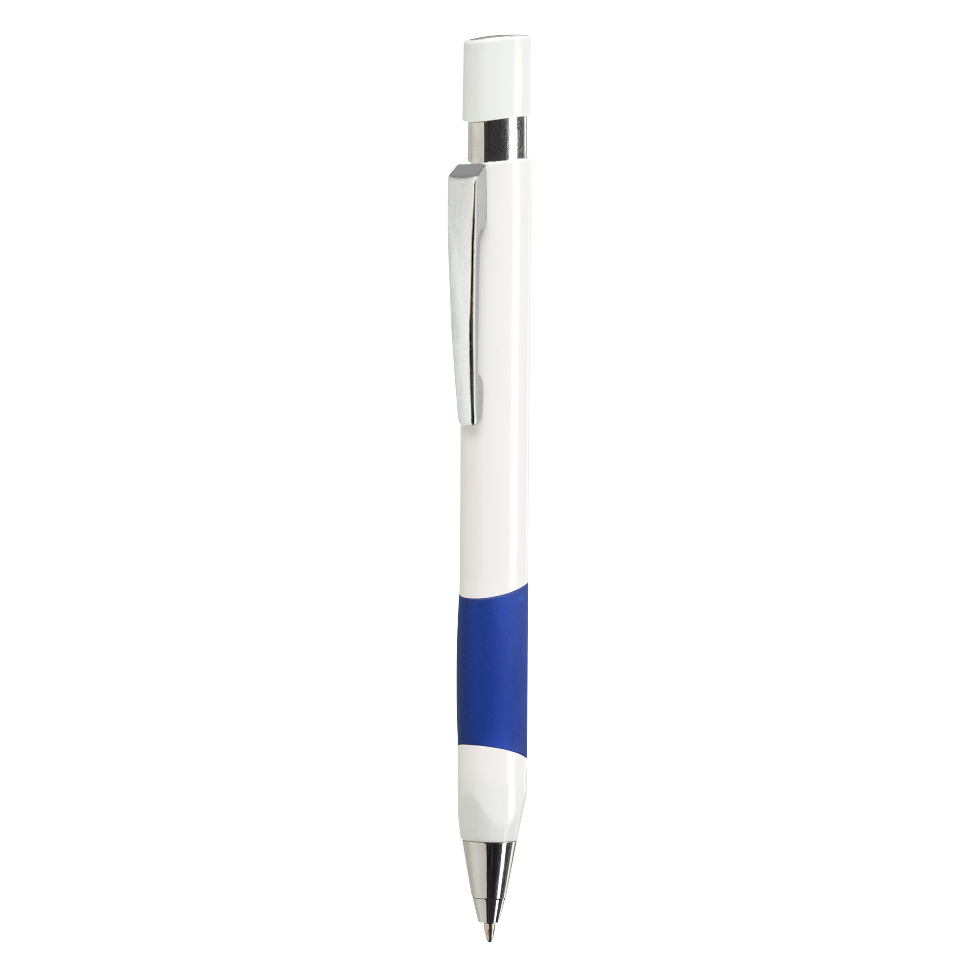 A blue coloured basic pen available to be printed with a custom logo or image on the side at Drukzo