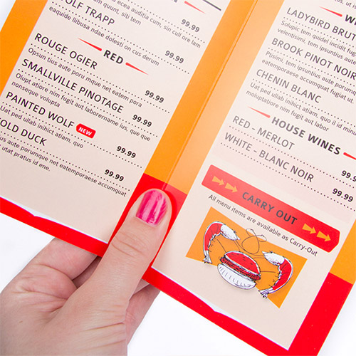 impression de Cartes menu