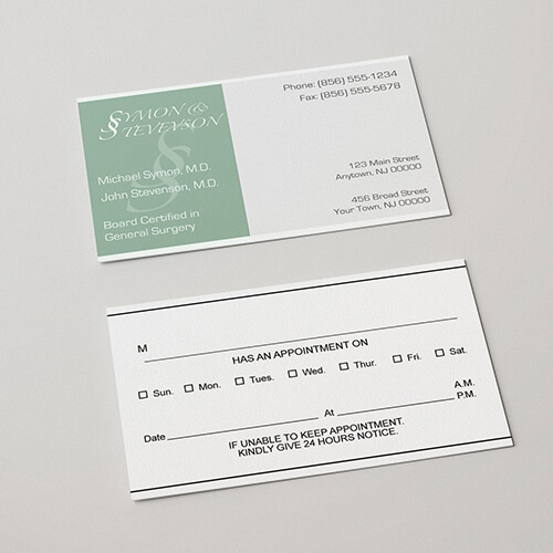 Appointment cards design in piedi