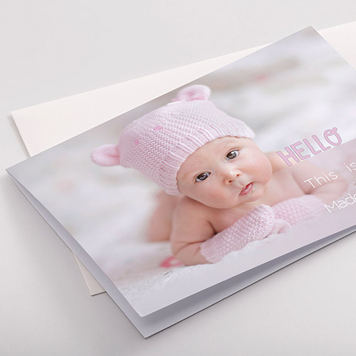 Birth announcement cards with logo