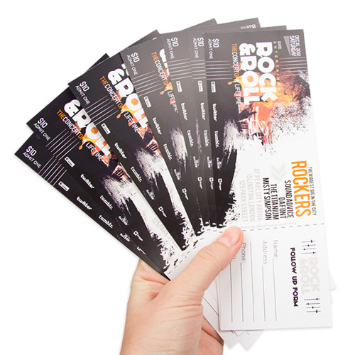 Entrance tickets with logo