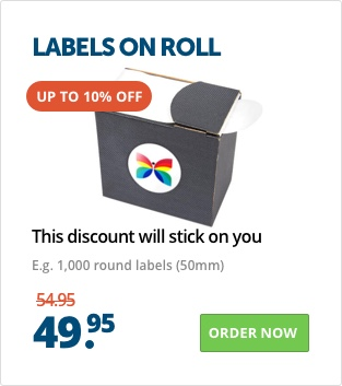 labels on roll at Helloprint